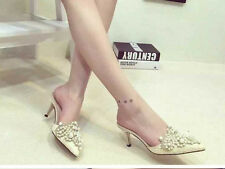 New Womens Ladies Wedding Bridal Shoes Prom High Heel Pearls Party Sandals Size