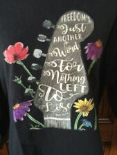 Vintage JANIS JOPLIN  Me & Bobby McGee Lyrics & Guitar Graphics L/S T-SHIRT, 2XL
