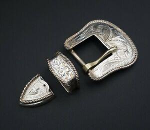 """Western Vogt Sterling Silver 3D Engraved Ranger Buckle 0.75"""" Belt 3pc M1254"""