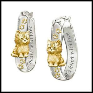 Elegant 925 Silver,Cat Footprint  Hoop Earrings for Women Jewelry A Pair/set
