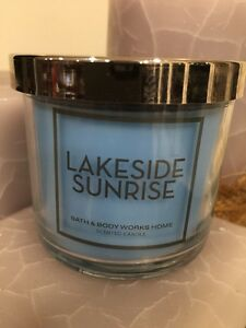 1 BATH & BODY WORKS LAKESIDE SUNRISE 4 OZ SMALL CANDLE WITH SWEET APPLE DEW NEW