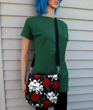 Skull and Roses Cross Body Purse Messenger Bag Goth Biker