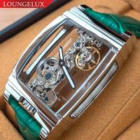 PRESALE Mens Flywheel Leather Luxury Skeleton Manual Mechanical Wrist Watch