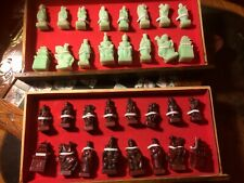 Jade Chess Set Carved Vintage Complete With storage Box Collectors 47cm
