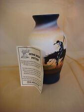 "CEDAR MESA POTTERY NAVAJO VASE END OF THE TRAIL COA SIGNED RD 7"" TALL"