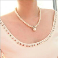 Fashion Women Pendant Chain Choker Chunky Pearl Statement Bib Necklace Jewelry