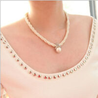 Fashion Women Pendant Chain Choker Pearl Statement Necklace Jewelry Gift New