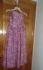 Laura Ashley Strapless Sundress New W/ Tag Size 10 Floral Design Pink Floral