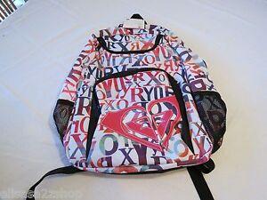 Roxy pink black LOGO NWT NEW Girls juniors book bag back pack bookbag surf skate