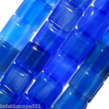 BLUE ONYX BEADS DOUBLE STRAND SQUARE 2 HOLE 10MM BEAD
