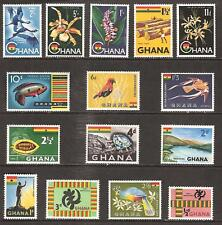GHANA # 48-60 MNH NKRUMAH STATUE TIMBER FLOWER &  BIRD