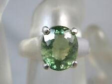 APATITE - Asparagus-green Genuine .925 Sterling Silver Ring 3.07ct   A