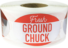 Fresh Ground Chuck Meat Packaging Stickers, 1.25 x 2 Inches, 500 Labels Total