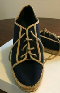 Andre Assous lace up espadrille size 9.5 or 40, navy with tan trim made in Spain