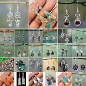 Retro Silver Turquoise Dangle Drop Earrings Ear Hook Moonstone Women Jewellery