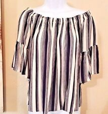 CHA CHA VENTE Navy and Ivory Off the Shoulder Top...Size S...NWOT