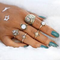 6 * Frauen Retro Cobblestone Ringe Set Antik Gold Midi Knuckle Boho Schmuck DE