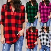 Women Oversize Plaid Print T-Shirt V Neck Loose Tops Long Sleeve Blouses C5N1