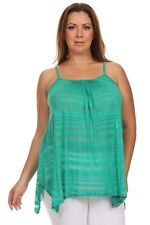 New Women's Plus Size Jade Striped Sheer Handkerchief Tank Top Sizes 1X 2X