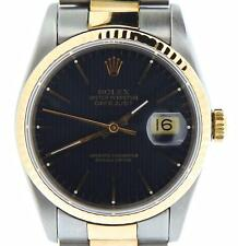 Rolex Datejust Mens 18K Gold Stainless Steel Watch Black Tapestry Dial 16233
