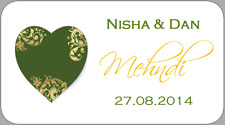65 x MINI MEHNDI STICKERS GREEN GOLD HENNA PAISLEY HEART LABELS PERSONALISED
