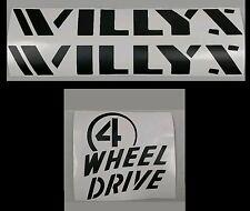 Willys Wheeler Jeep Wrangler Decal Set JK JKU  Rubicon Sahara Chief TJ YJ XJ