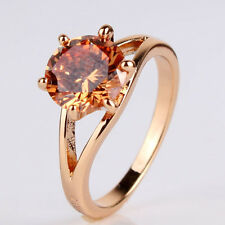 Promising lady ring 18k gold filled charm citrine wedding ring Sz5-Sz9