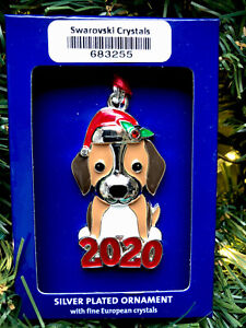 2020 Santa Dog Puppy Holiday Ornament Harvey Lewis Xmas w Swarovski Crystals