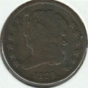 1829 Fine F Classic Head US Half Cent 1/2C