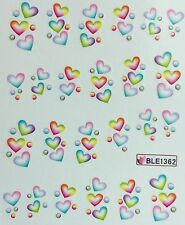 Nail Art Water Decals Rainbow Hearts BLE1362