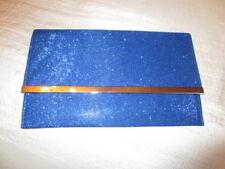 Abendtasche Clutch Blau Glitzer starker Verschluss groß  Stoff Kuvert Format
