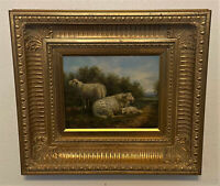 Antique Gold Frame Signed Bullard Oil on Canvas Painting - Pastoral Scene, Sheep
