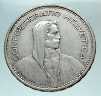 1931 B Switzerland Founding HERO WILLIAM TELL 5 Francs Silver Swiss Coin i82530