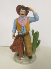 Homco Figurine 1419 Porcelain Cowboy Saddle Cactus Hat Stir Ups Colorful