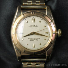 ROLEX RARE VINTAGE BUBBLE BACK 14K YELLOW GOLD OYSTER PERPETUAL WATCH 5015 1945