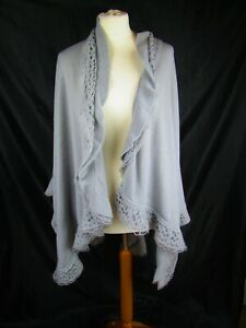 Lovely grey wool shawl with crochet effect trim. One size