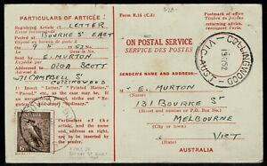 P.M.G. Dept Advice of Delivery With 6d Kooka Bourke St East Vic (Rated 2R) 1952