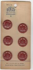 "Vintage Card of 6 Brick Red 5/8"" DuKay Plastic Buttons"