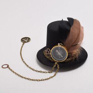 Gothic Steampunk Gear Compass Hat Hair Clip Chain Feather Hat Headwear Hairpin