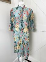 Zara Basic Collection Blue Multi Color Floral 3/4 Sleeve Long Duster Tunic Top L