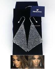 NEW SWAROVSKI Brand Rhodium Sparkle White Grey Crystal Mesh Earrings 976061