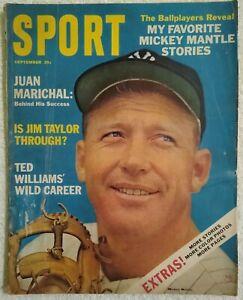 Vintage Sport Magazine Sept 1964 Mickey Mantle Ted Williams Juan Marichal