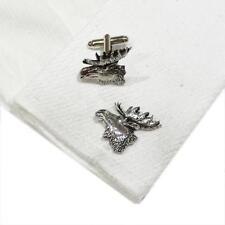 Silver Pewter Moose Head Handmade in England Cufflinks Wild Animal New
