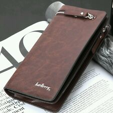 U.s mens baellerry pu leather id card holder zip wallet clutch checkbook bilfold