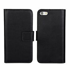 Black Genuine Leather Business Card Money Wallet Case Cover for iPhone 5 5s SE