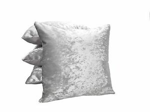 """4 x  ICE SILVER GREY Crushed Velvet Cushions Filled 18"""""""