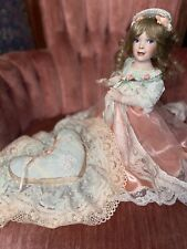 Beautiful Antique Porcelain Doll Praying With Heart Pillow