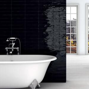Manhattan Black Gloss Bumpy Italian Ceramic Wall Tiles 7.5 x 30 cm / Sqm
