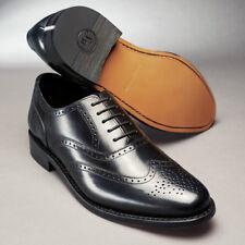 Samuel Windsor Handmade Mens Classic Leather Cheltenham Brogue Shoe in Black 10