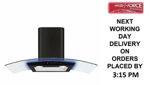 CDA EKP90BL 90cm Multi Colour Light Edge LED Curved Glass Black Cooker Hood